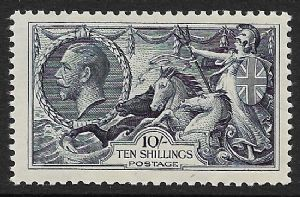 1934  SG452 10/- Dull Grey-Blue Re-Engraved  Seahorse  Stamp  MOUNTED MINT